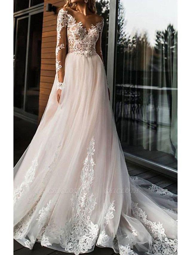 A-Line Wedding Dresses V Neck Sweep \ Brush Train Lace Tulle Long Sleeve Romantic Boho Illusion Sleeve