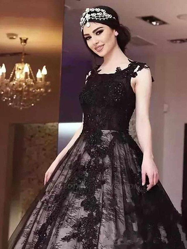 A-Line Jewel Neck Court Train Lace Satin Tulle Regular Straps Black Wedding Dresses