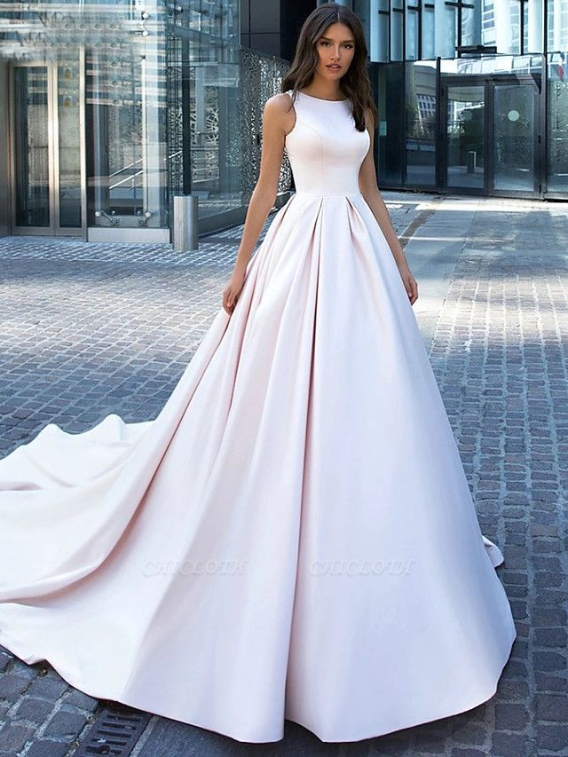 Ball Gown Wedding Dresses Bateau Neck Cathedral Train Polyester Regular Straps Plus Size