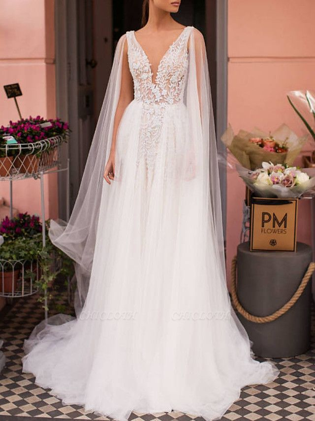 A-Line Wedding Dresses V Neck Sweep \ Brush Train Lace Tulle Regular Straps Casual Beach Sexy See-Through Backless Cape