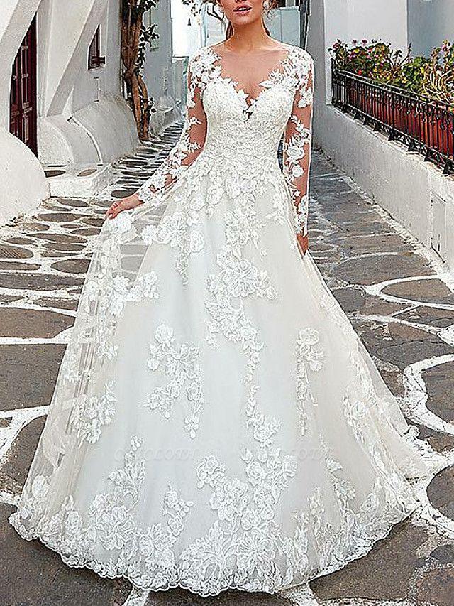 A-Line Wedding Dresses V Neck Sweep \ Brush Train Tulle Long Sleeve