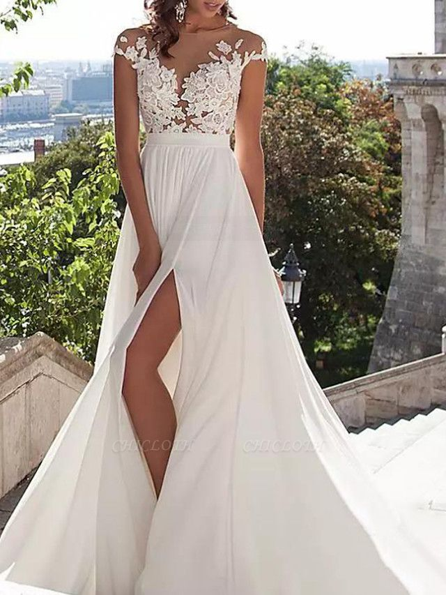 A-Line Wedding Dresses Jewel Neck Sweep \ Brush Train Lace Stretch Satin Cap Sleeve Casual Beach Boho Plus Size