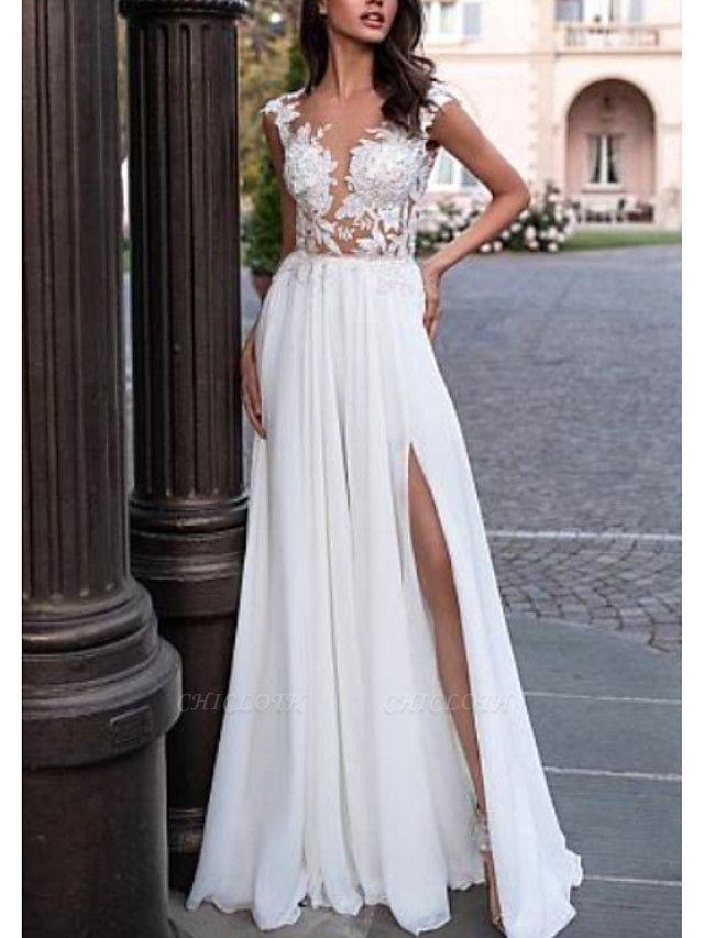 A-Line Wedding Dresses V Neck Sweep \ Brush Train Chiffon Lace Cap Sleeve Backless Illusion Sleeve