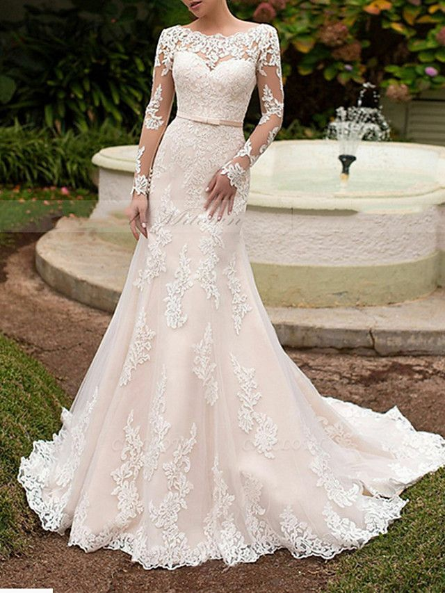 Mermaid \ Trumpet Wedding Dresses Off Shoulder Sweep \ Brush Train Tulle Long Sleeve Formal Plus Size Illusion Sleeve