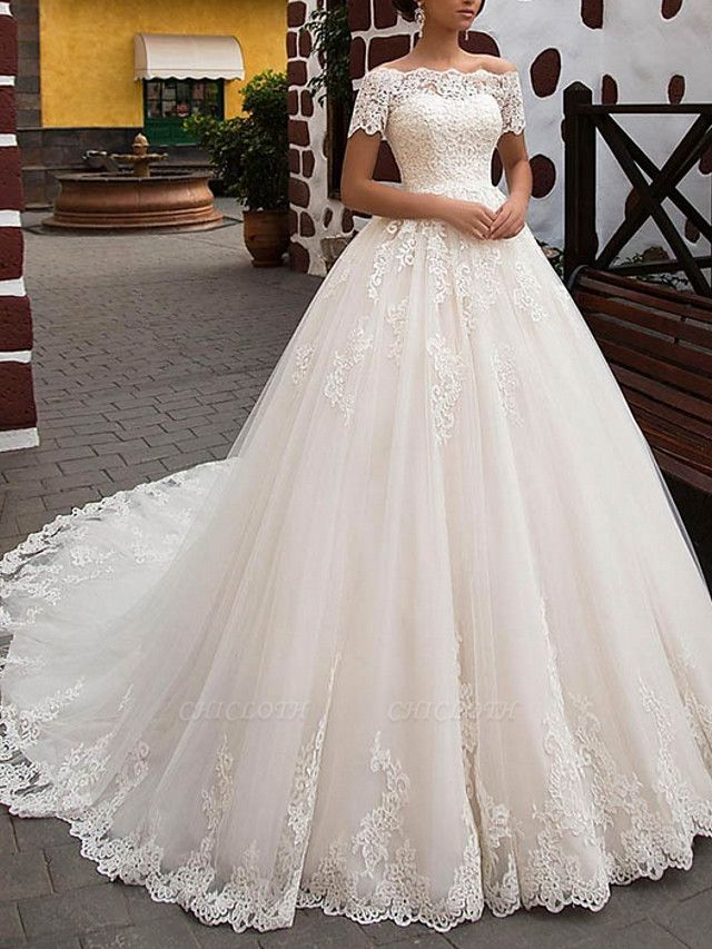 A-Line Wedding Dresses Off Shoulder Sweep \ Brush Train Lace Short Sleeve Glamorous Vintage Illusion Detail Backless