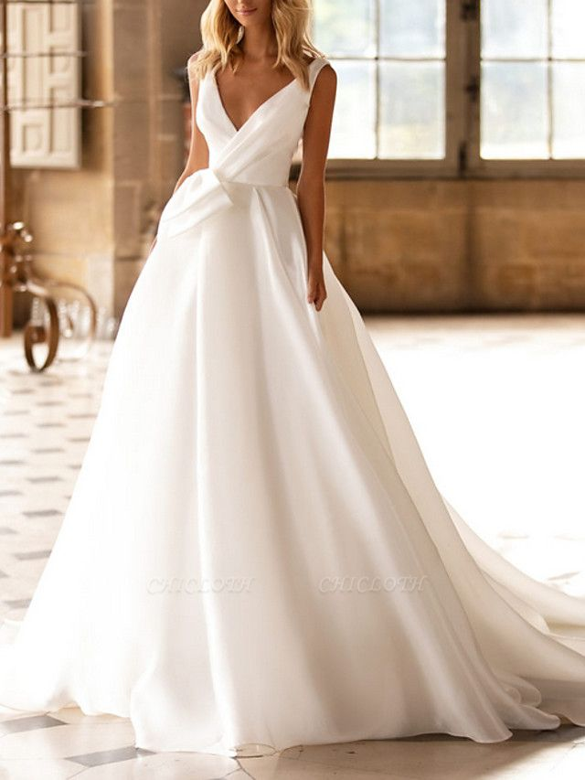 A-Line Wedding Dresses V Neck Court Train Satin Regular Straps Plus Size