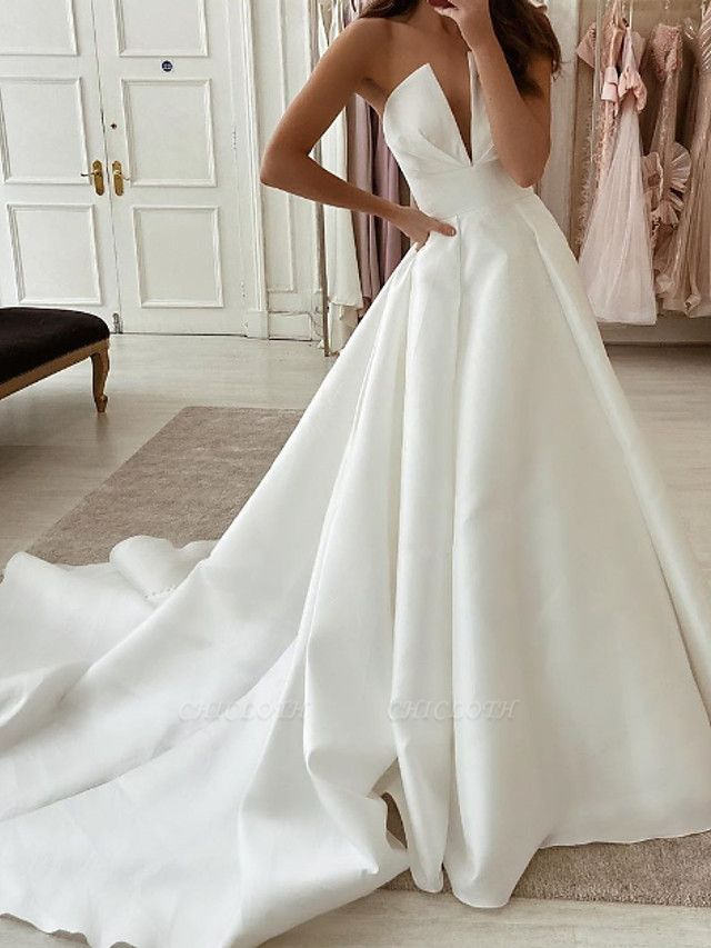 A-Line Wedding Dresses Strapless Sweep \ Brush Train Stretch Satin Sleeveless Country Plus Size