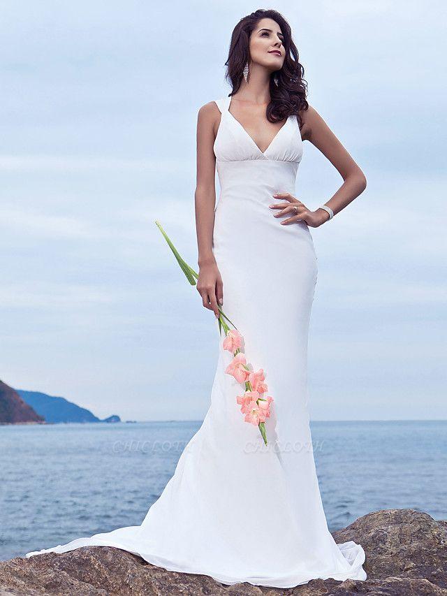 Mermaid \ Trumpet Wedding Dresses V Neck Sweep \ Brush Train Chiffon Regular Straps Beach Backless