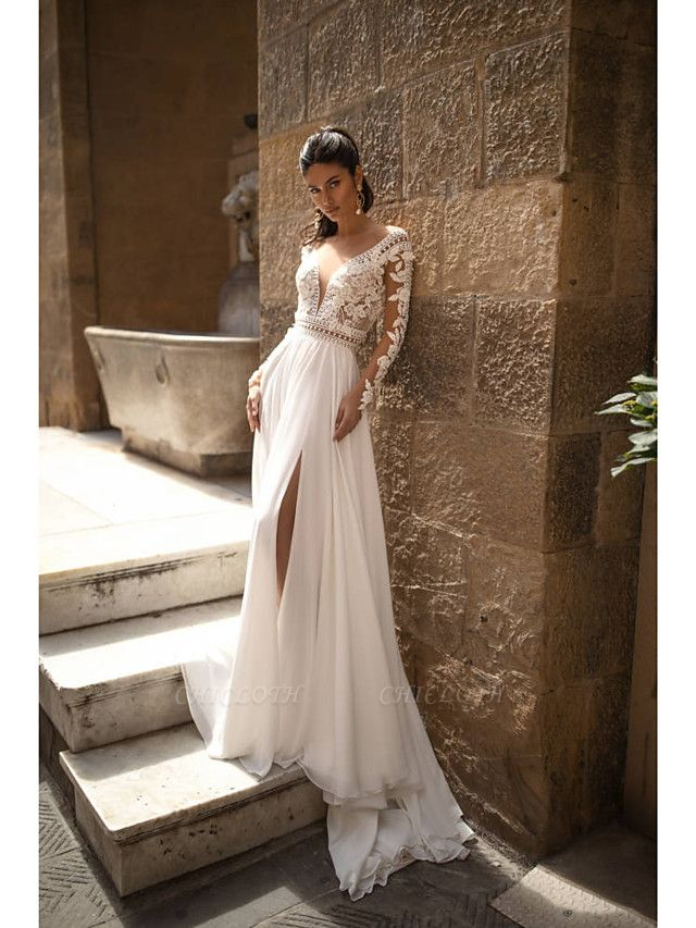 A-Line Wedding Dresses V Neck Sweep \ Brush Train Chiffon Lace Long Sleeve Romantic Backless Illusion Sleeve