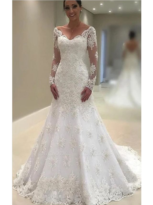A-Line V Neck Court Train Lace Tulle Charmeuse Long Sleeve Formal Plus Size Illusion Sleeve Wedding Dresses