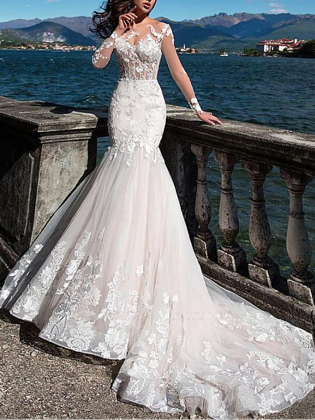 Mermaid \ Trumpet Jewel Neck Court Train Lace Tulle Long Sleeve Formal See-Through Wedding Dresses