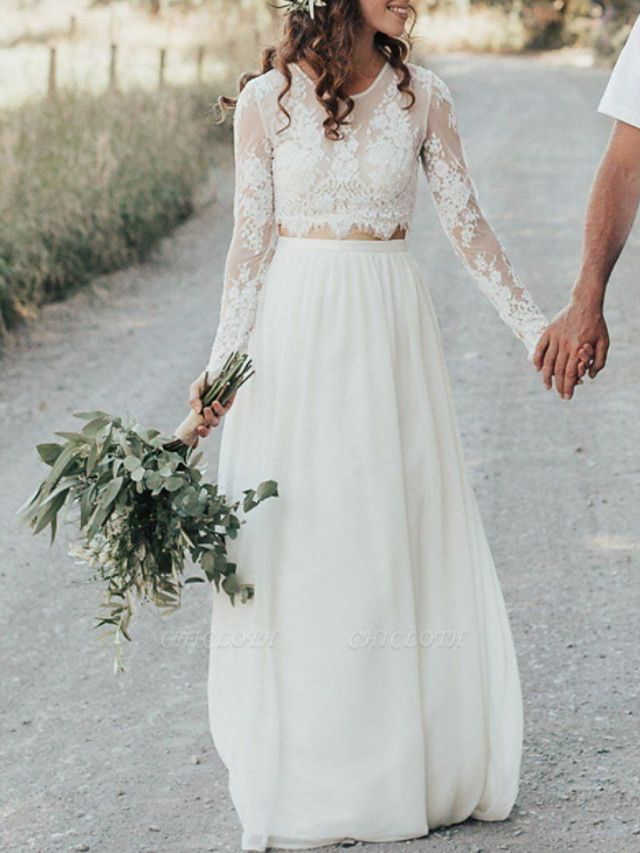A-Line Wedding Dresses Jewel Neck Sweep \ Brush Train Lace Chiffon Over Satin Long Sleeve Beach Boho Sexy See-Through