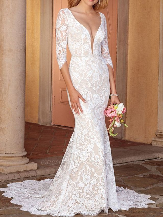 Sheath \ Column V Neck Court Train Lace Half Sleeve Country Wedding Dress in Color Wedding Dresses