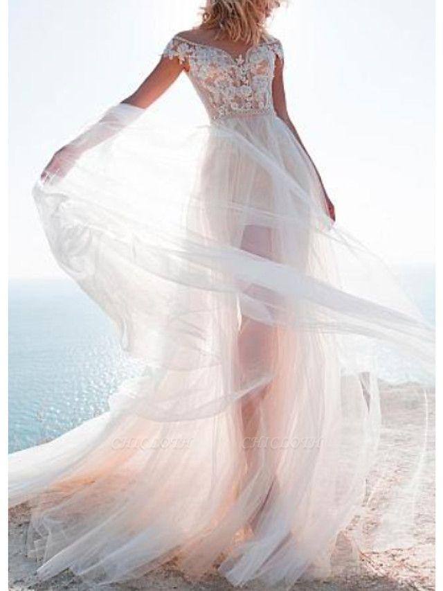 A-Line Wedding Dresses Jewel Neck Sweep \ Brush Train Lace Tulle Cap Sleeve