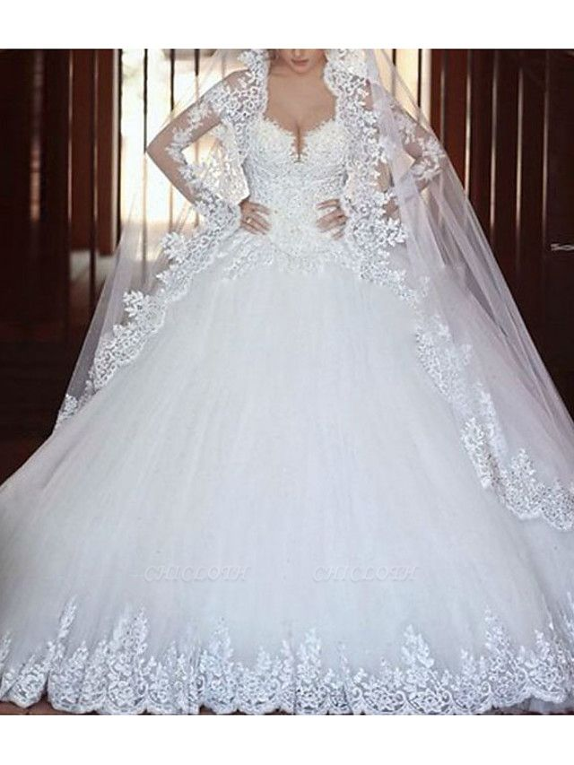 A-Line Wedding Dresses V Neck Court Train Tulle Long Sleeve