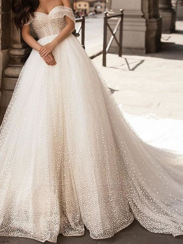 Ball Gown Off Shoulder Chapel Train Tulle Polyester Short Sleeve Country Plus Size Wedding Dresses