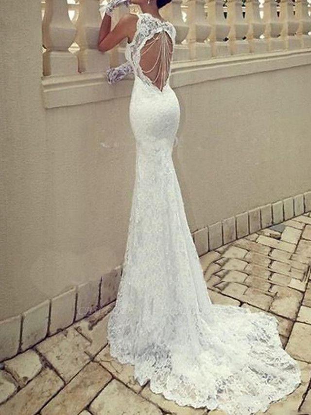 Mermaid \ Trumpet Wedding Dresses Scoop Neck Sweep \ Brush Train Lace Taffeta Chiffon Over Satin Sleeveless Sexy Plus Size