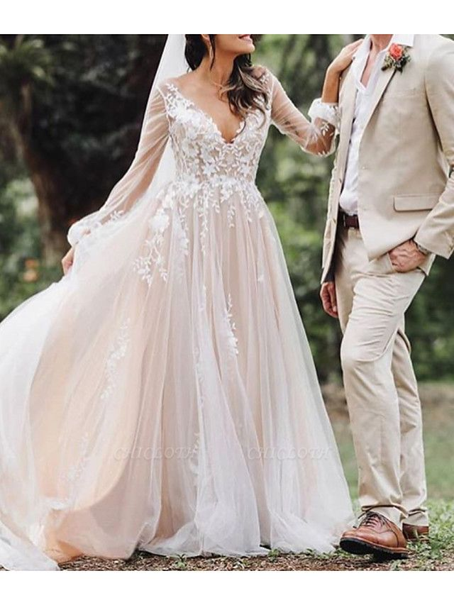 A-Line V Neck Court Train Lace Tulle Polyester Long Sleeve Formal Boho Plus Size Illusion Sleeve Wedding Dresses