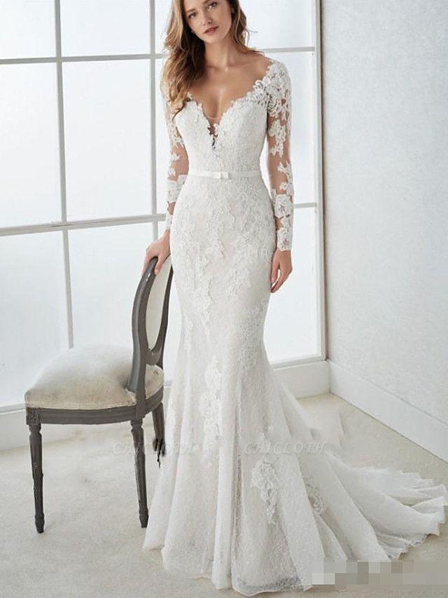 Mermaid \ Trumpet Wedding Dresses V Neck Sweep \ Brush Train Lace Tulle Long Sleeve Country Illusion Sleeve