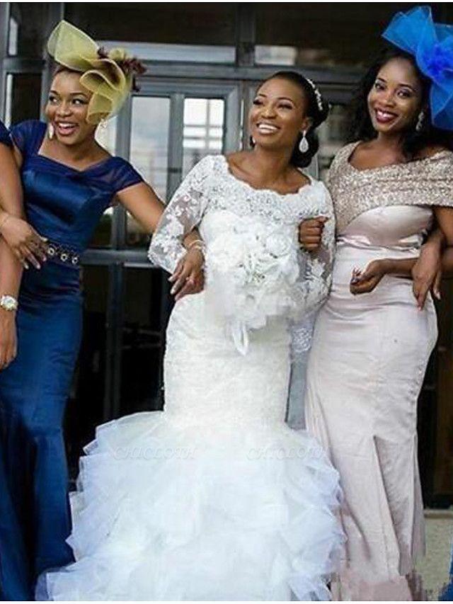 Mermaid \ Trumpet Wedding Dresses Bateau Neck Chapel Train Lace Tulle Long Sleeve Illusion Sleeve
