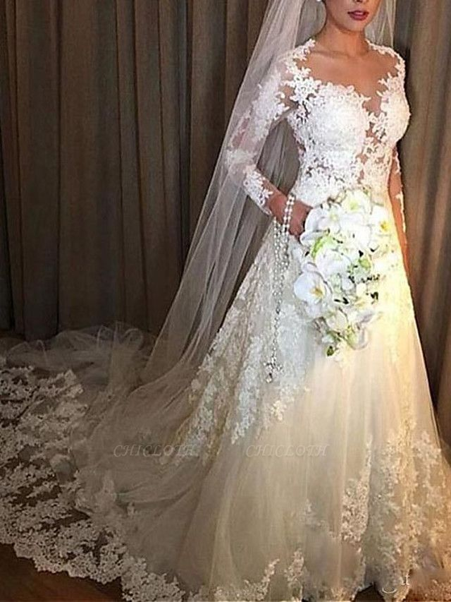A-Line Wedding Dresses V Neck Court Train Lace Tulle Long Sleeve Illusion Sleeve