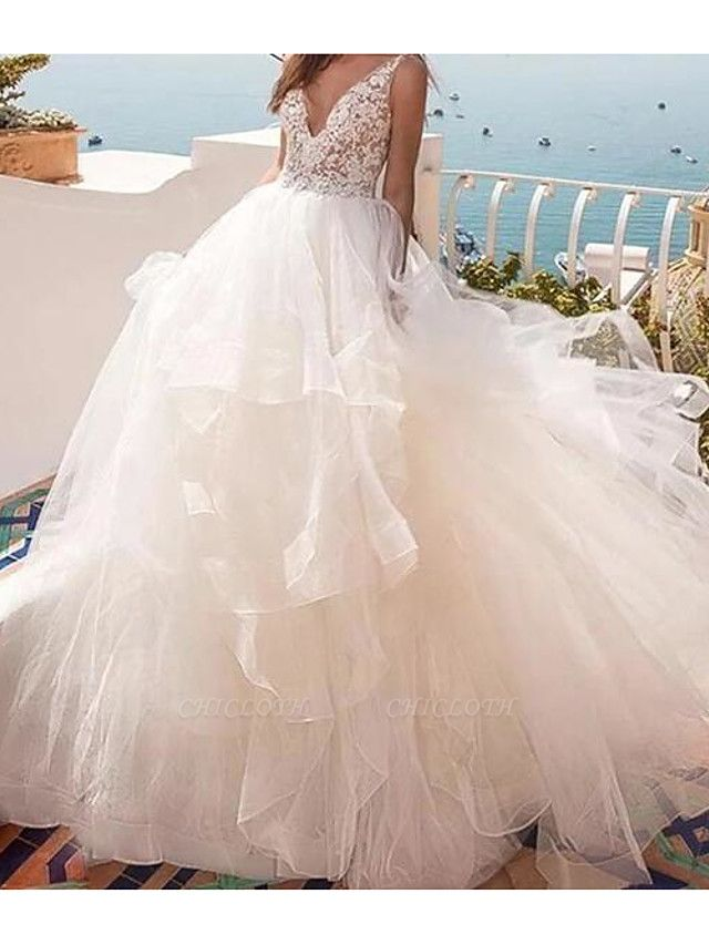 Ball Gown Wedding Dresses V Neck Sweep \ Brush Train Lace Tulle Sleeveless Country Sexy See-Through