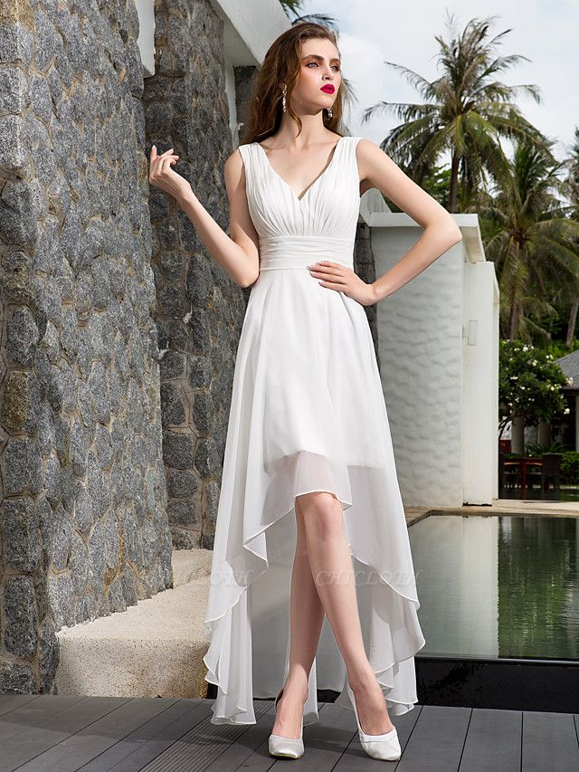 A-Line Wedding Dresses V Neck Asymmetrical Georgette Regular Straps Formal Simple Casual Plus Size