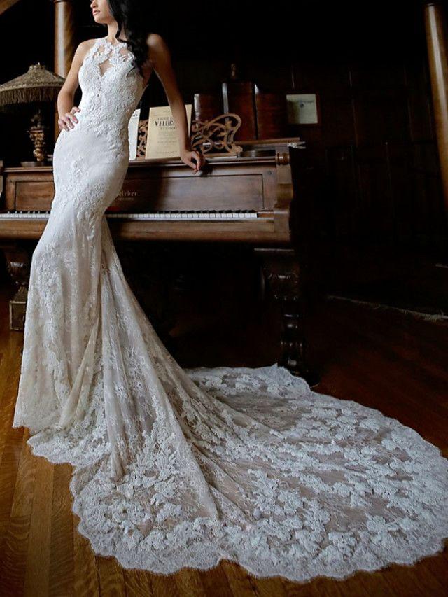 Sheath \ Column Wedding Dresses Jewel Neck Chapel Train Lace Sleeveless Sexy Wedding Dress in Color