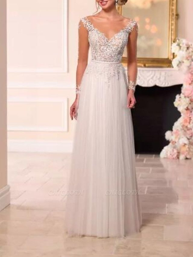 A-Line Wedding Dresses V Neck Sweep \ Brush Train Lace Tulle Long Sleeve Romantic See-Through Backless