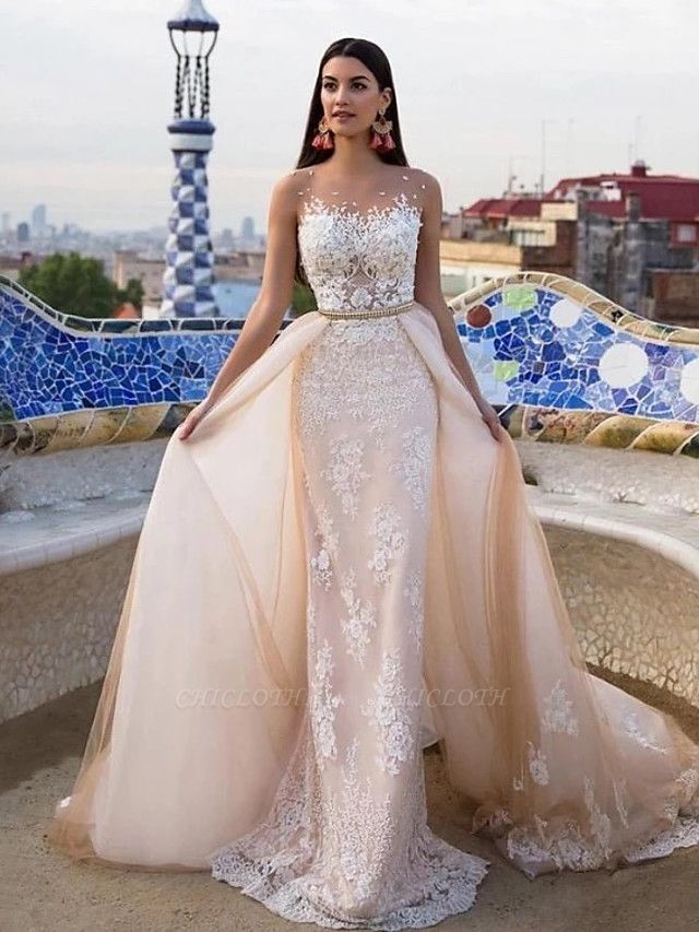Mermaid \ Trumpet Jewel Neck Chapel Train Lace Tulle Lace Over Satin Regular Straps Formal See-Through Wedding Dresses