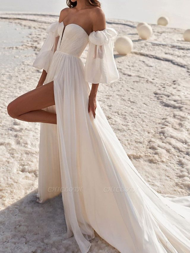 A-Line Wedding Dresses Off Shoulder Strapless Court Train Chiffon Over Satin 3\4 Length Sleeve Sexy