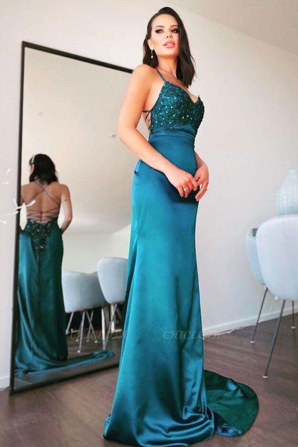ZY109 Simple Evening Dresses Long Green Evening Wear Online
