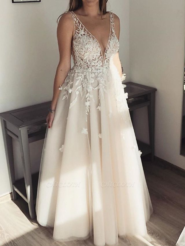 A-Line Wedding Dresses Plunging Neck Floor Length Lace Tulle Sleeveless Country Sexy See-Through Plus Size