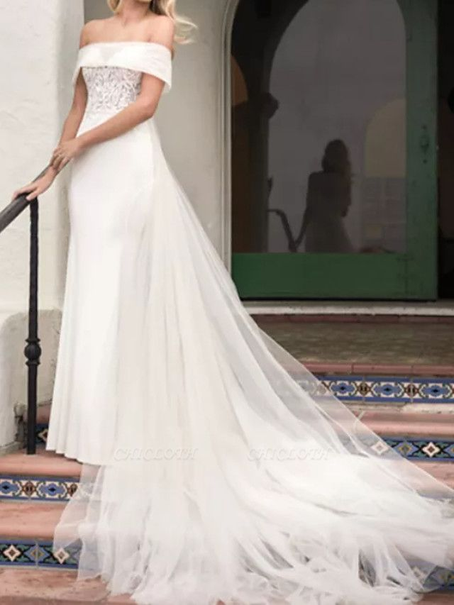 A-Line Wedding Dresses Off Shoulder Court Train Lace Satin Tulle Short Sleeve Formal