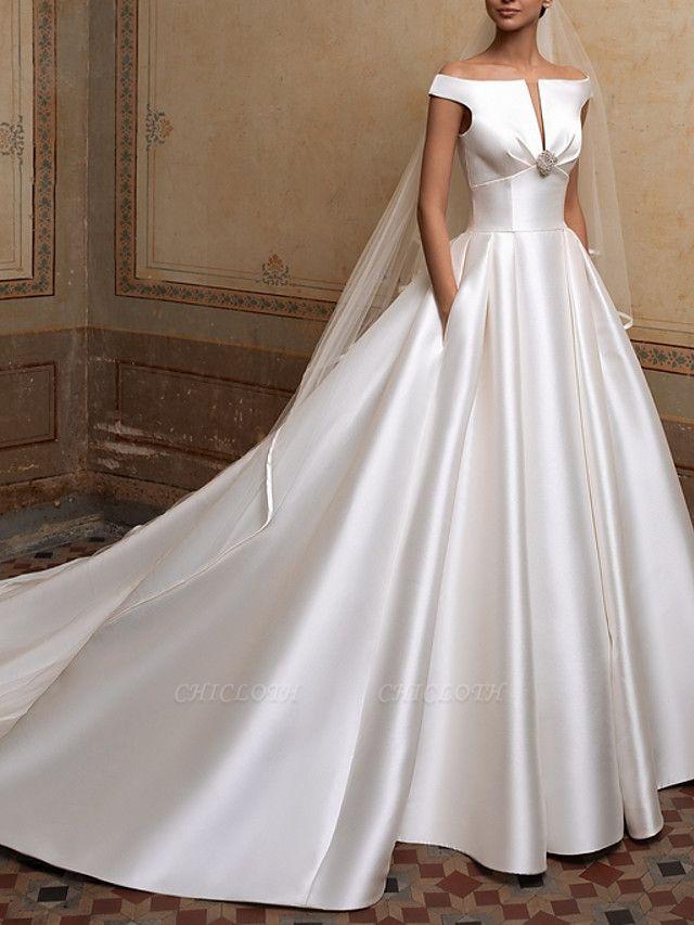 A-Line Wedding Dresses Off Shoulder Sweep \ Brush Train Satin Short Sleeve Simple Elegant