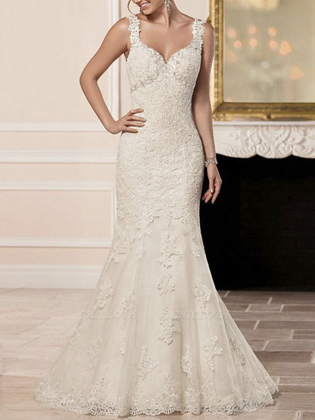 Mermaid \ Trumpet Wedding Dresses Sweetheart Neckline Sweep \ Brush Train Lace Spaghetti Strap Sexy Illusion Detail Backless