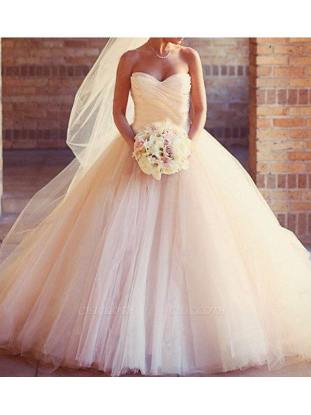 Ball Gown Wedding Dresses Strapless Sweep \ Brush Train Tulle Strapless Formal Plus Size