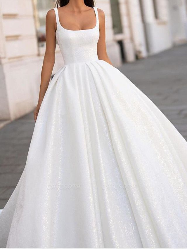 Ball Gown Spaghetti Strap Scoop Neck Court Train Polyester Sleeveless Country Plus Size Wedding Dresses