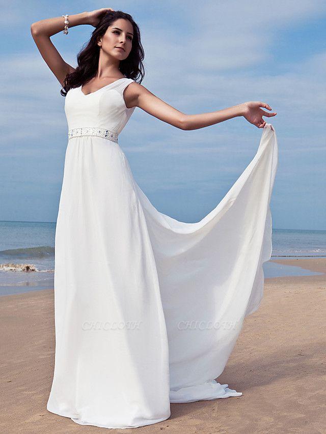 Sheath \ Column Wedding Dresses V Neck Floor Length Chiffon Regular Straps Simple Beach Plus Size