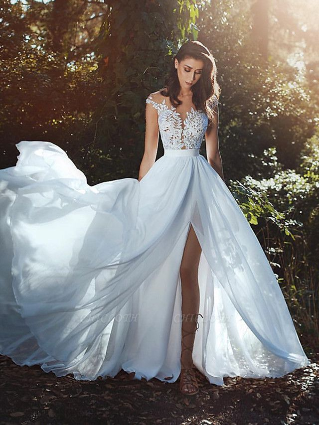 A-Line Wedding Dresses V Neck Court Train Chiffon Lace Cap Sleeve Country Romantic Sexy See-Through Backless