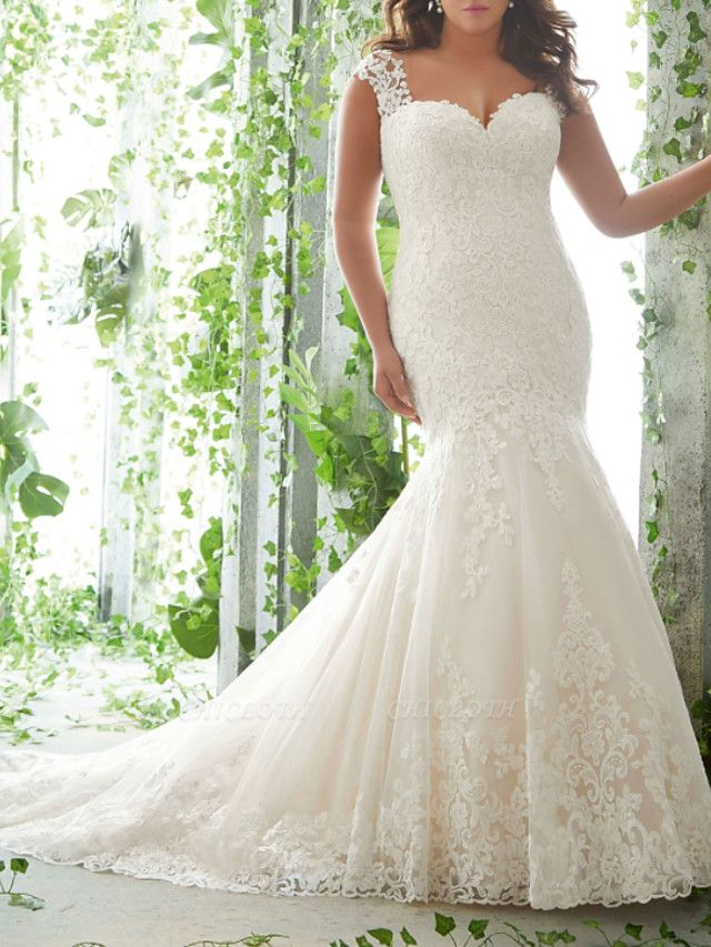 Mermaid \ Trumpet Sweetheart Neckline Sweep \ Brush Train Lace Tulle Sleeveless Romantic Wedding Dresses