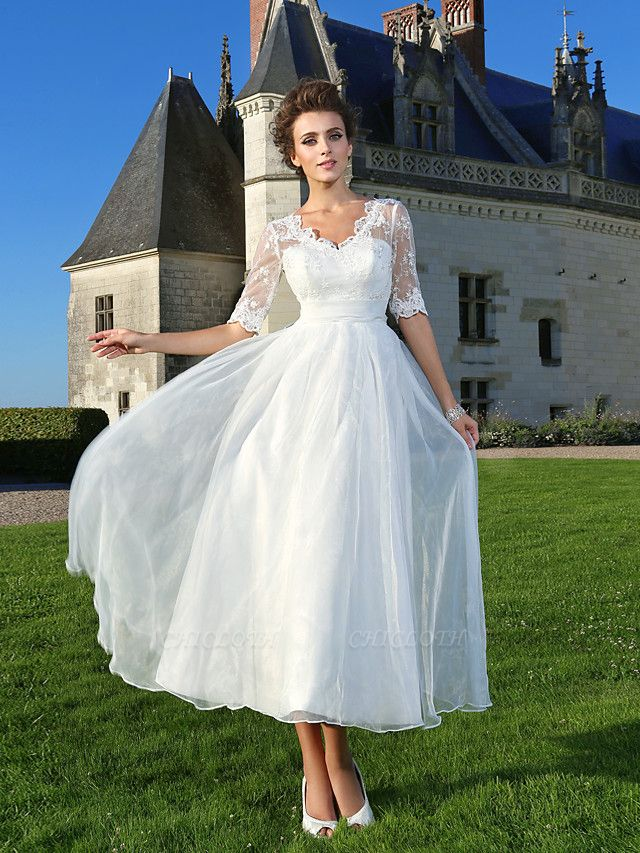 A-Line Wedding Dresses V Neck Ankle Length Organza Sheer Lace Half Sleeve Country Casual Vintage See-Through Illusion Sleeve