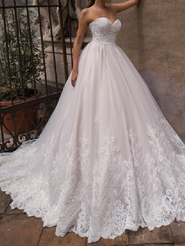 A-Line Off Shoulder Court Train Lace Tulle 3\4 Length Sleeve Country Plus Size Wedding Dresses