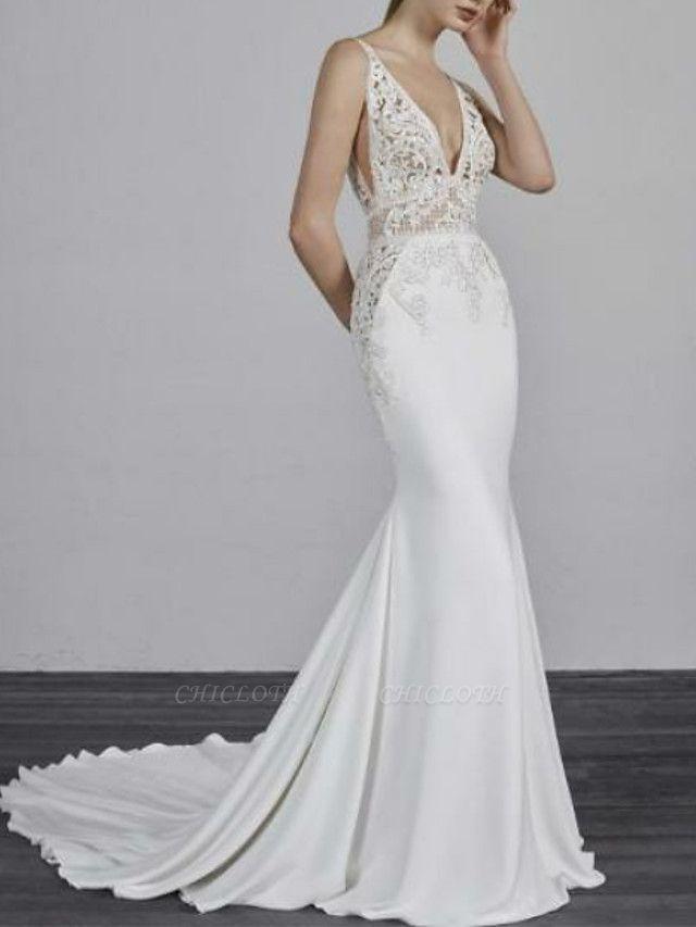 Mermaid \ Trumpet Wedding Dresses V Neck Court Train Satin Spaghetti Strap