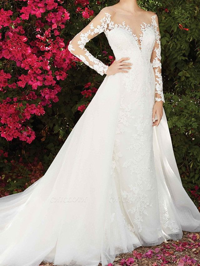 A-Line Wedding Dresses Jewel Neck Chapel Train Lace Long Sleeve Country Wedding Dress in Color