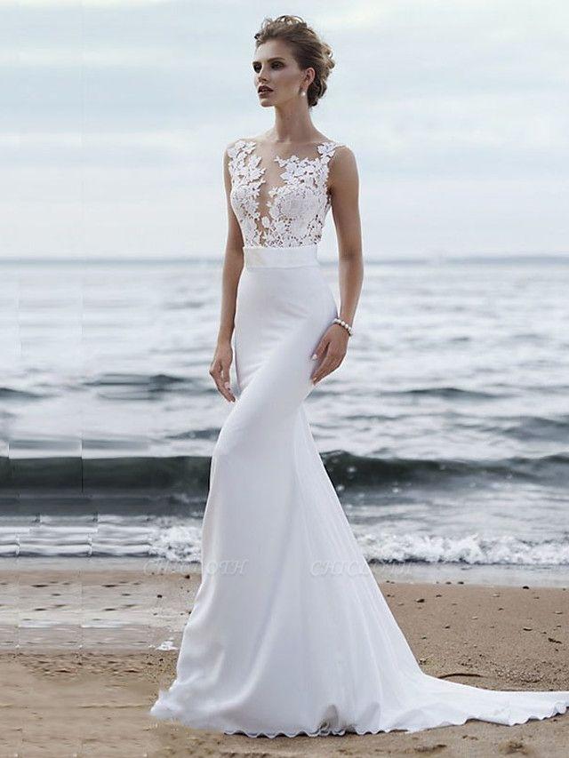 Mermaid \ Trumpet Wedding Dresses Jewel Neck Chapel Train Chiffon Lace Regular Straps Mordern See-Through