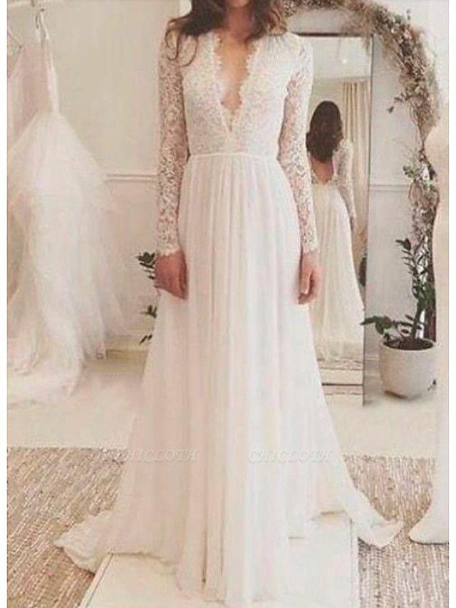 A-Line Wedding Dresses V Neck Sweep \ Brush Train Lace Long Sleeve Backless Illusion Sleeve
