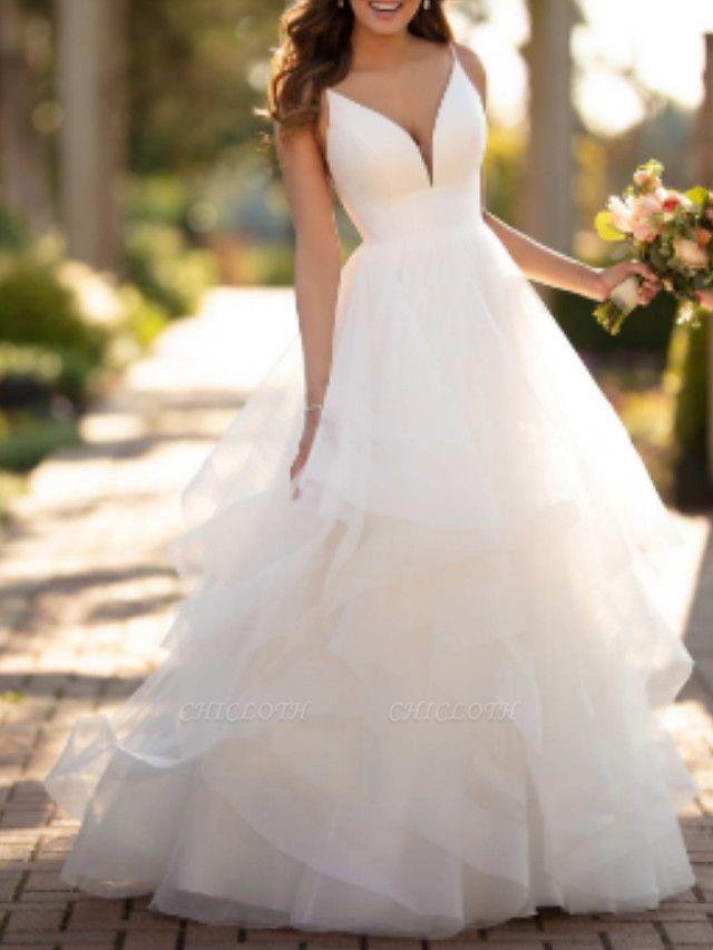 Ball Gown Wedding Dresses V Neck Court Train Tulle Charmeuse Spaghetti Strap Formal Simple Little White Dress