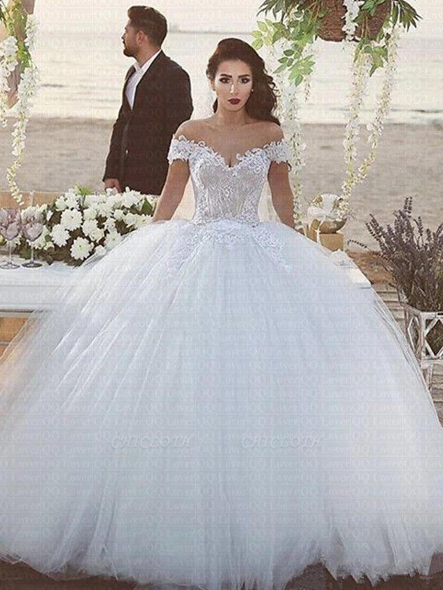Ball Gown Off Shoulder Chapel Train Lace Tulle Strapless Beautiful Back Wedding Dresses