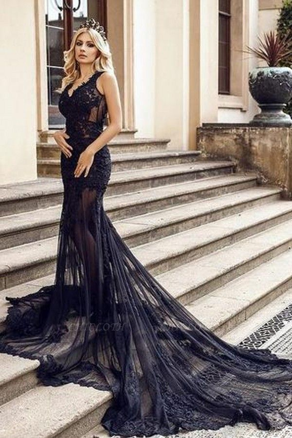 ZY105 Modern Evening Dresses Long Black | Evening Fashion With Lace